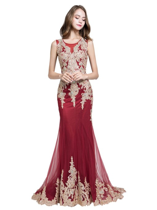 Sleeveless Court Train Scoop Floor-Length Evening Dress 2019