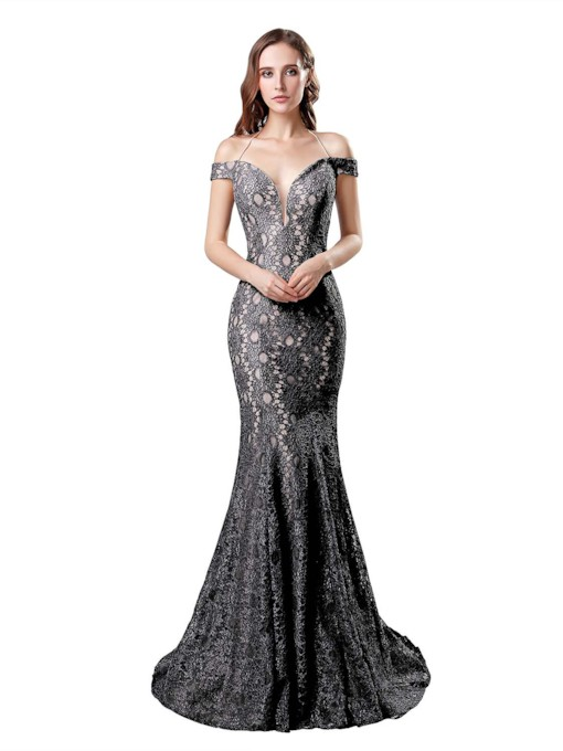 Trumpet Sweep Train Lace Floor-Length Evening Dress 2019