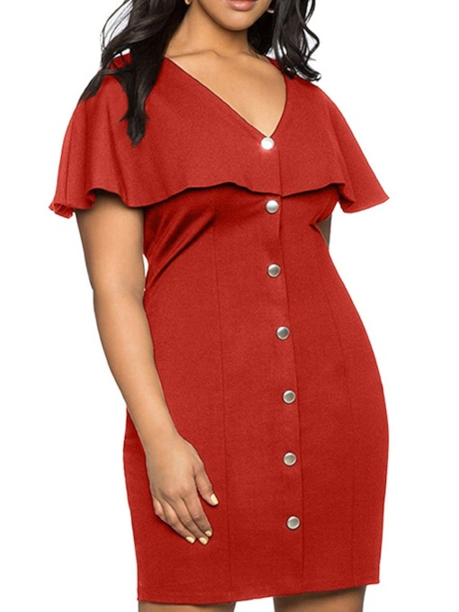 Short Sleeve Falbala V-Neck Single-Breasted Women's Day Dress