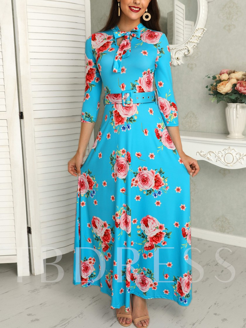 Three-Quarter Sleeve Print Floral Fall Women's Maxi Dress