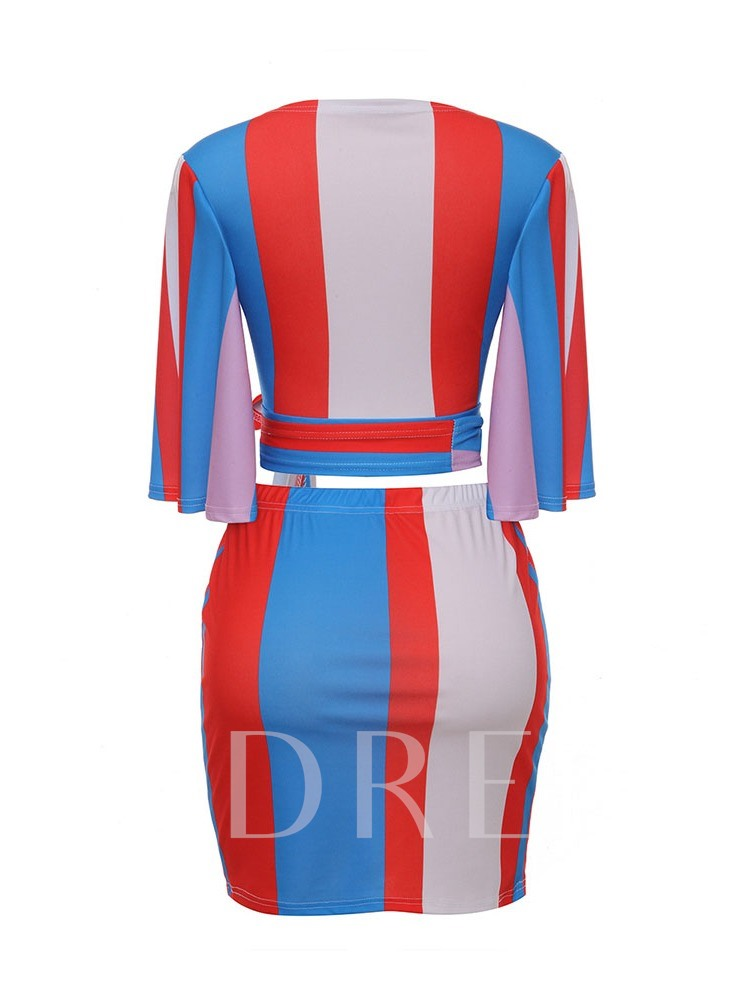 Lace-Up Color Block Casual Skirt V-Neck Women's Two Piece Sets