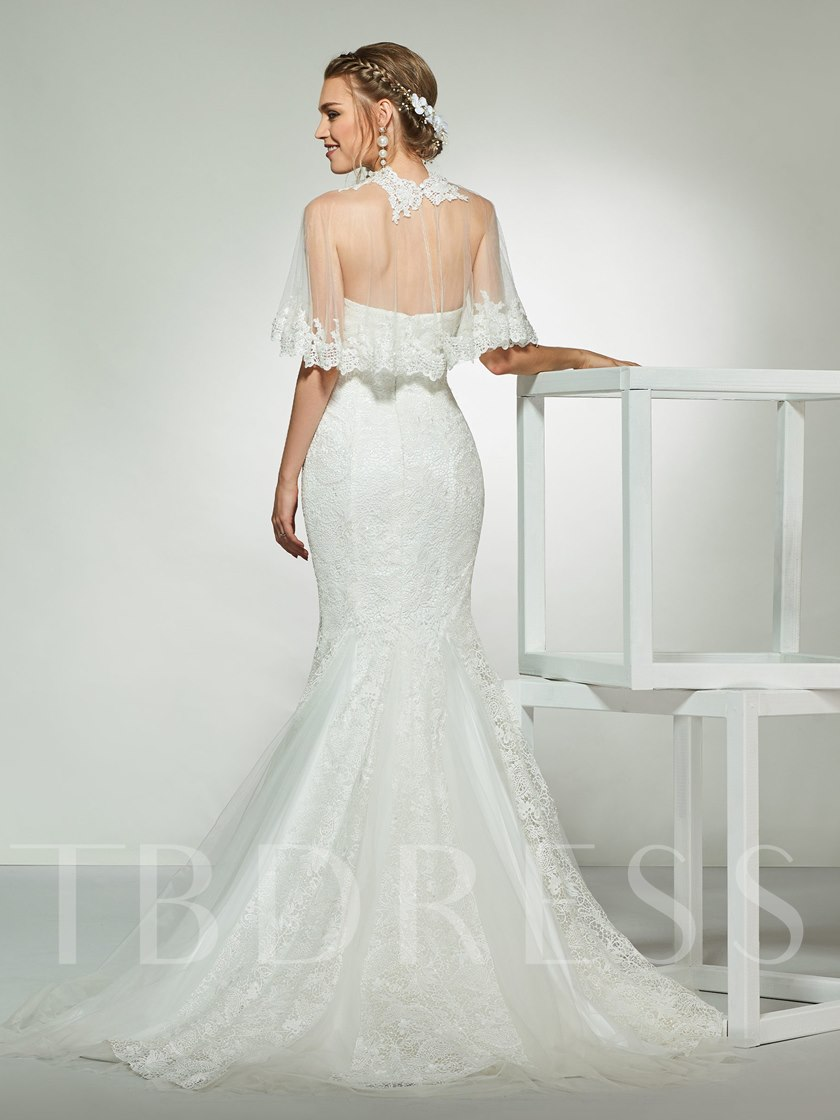 Mermaid Appliques Lace Wedding Dress 2019 with Cape