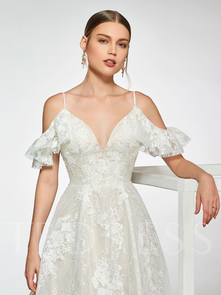 Spaghetti Straps Ruffles Lace Wedding Dress 2019