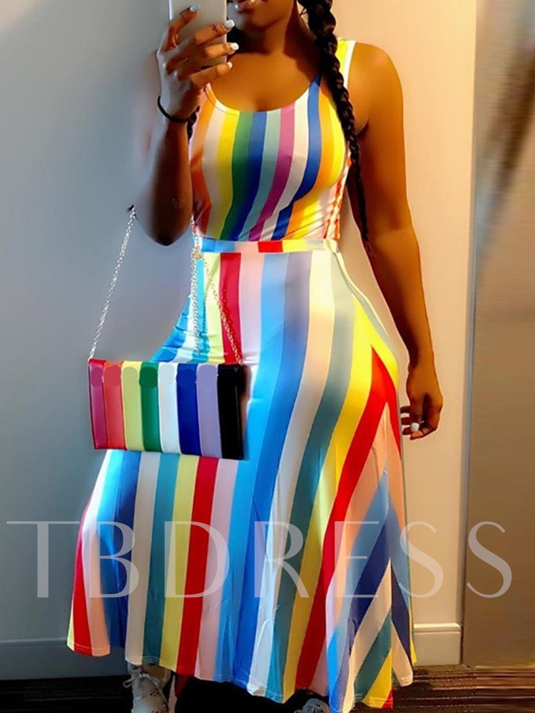 Print Color Block Sleeveless Summer Women's Maxi Dress