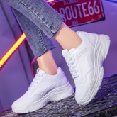 Lace-Up Round Toe Mid-Cut Upper Sequin Women's Sneakers