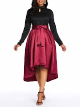 Long Sleeve Lace-Up Asymmetric Women's Maxi Dress