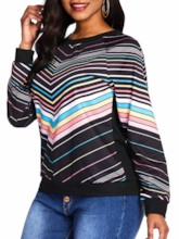 Rainbow Stripe Raglan Sleeve Women's Sweatshirt