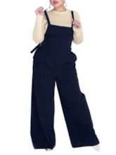 Strap Full Length Plain Travel Look Wide Legs Women's Overalls