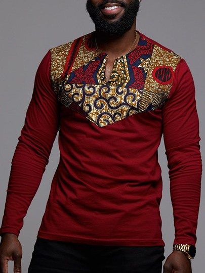 African Ethnic Print Round Neck Floral Straight Mens T-shirt African Ethnic Print Round Neck Floral Straight Men's T-shirt