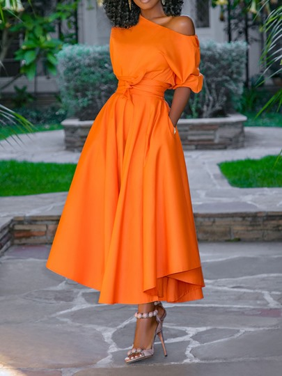 African Fashion Half Sleeve Mid-Calf Plain Womens Maxi Dress African Fashion Half Sleeve Mid-Calf Plain Women's Maxi Dress