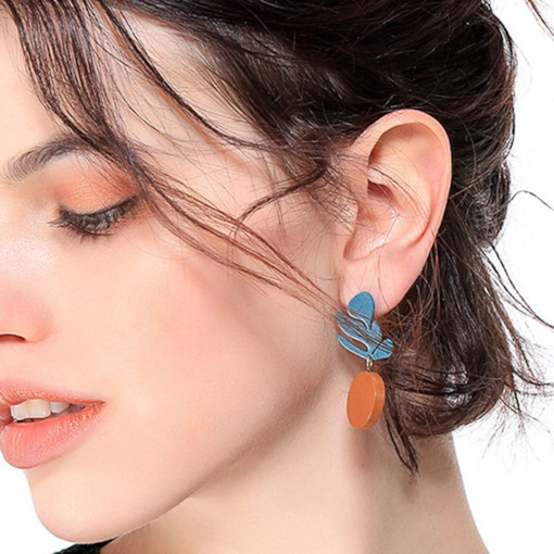 Leaf Shape Wood Color Block OL Drop Earrings