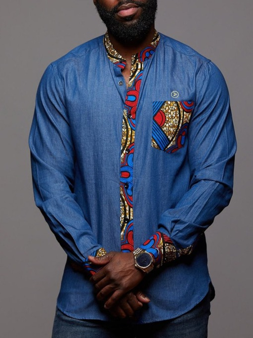 African Ethnic Round Neck Color Block Single-Breasted Men's T-shirt