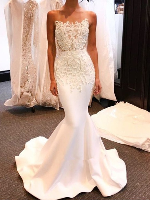 Strapless Mermaid Appliques Beading Wedding Dress 2019
