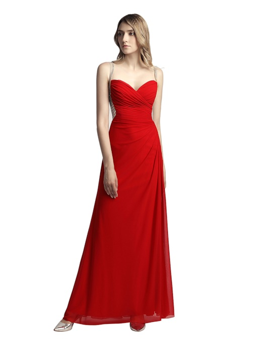 Spaghetti Straps Sleeveless Beading Sheath Prom Dress 2019