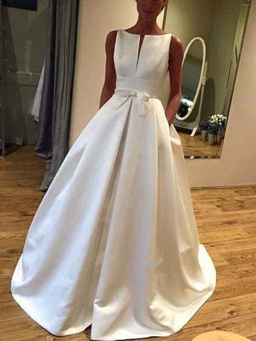 Straps Bowknot Pockets Wedding Dress 2019