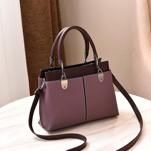 Casual Color Block Thread PU Tote Bags