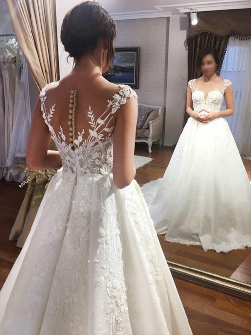 Cap Sleeves Sequins Appliques Button Wedding Dress 2019