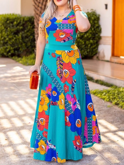 Print Short Sleeve V-Neck Floral Women's Maxi Dress