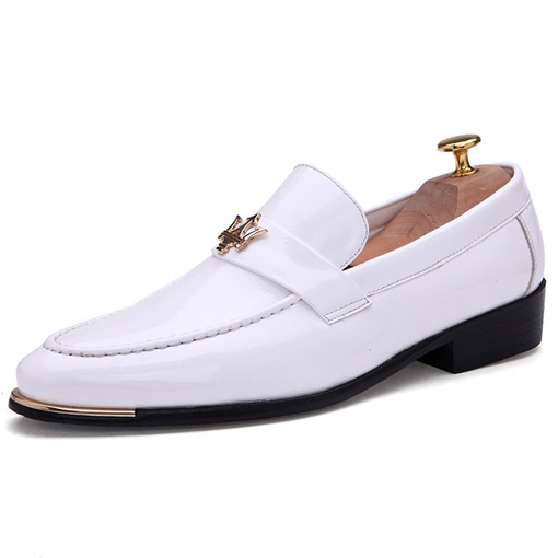 Plain Block Heel Slip-On Low-Cut Upper Round Toe Men's Prom Shoes