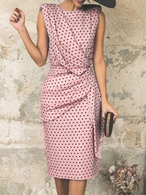 Sleeveless Round Neck Polka Dots Women's Sheath Dress