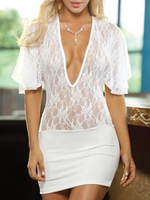 Hollow Backless Plain Half Sleeve Chemise