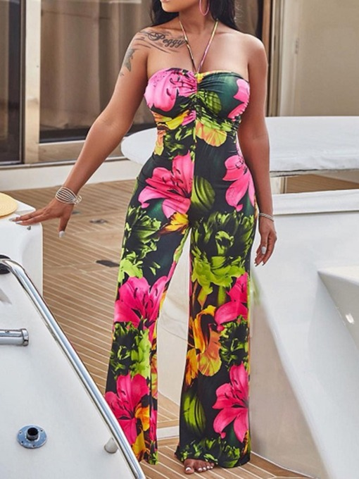 Full Length Floral Print Fashion Mid Waist Women's Jumpsuit