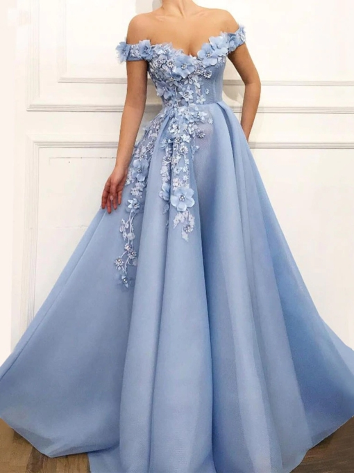 Off-The-Shoulder Short Sleeves 3D Floral Prom Dress 2019
