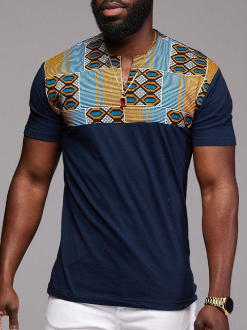 African Ethnic Round Neck Color Block Straight Men's T-shirt