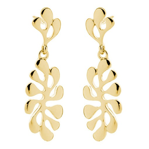 Vintage Ethnic Leaf Pattern Metal Drop Earrings