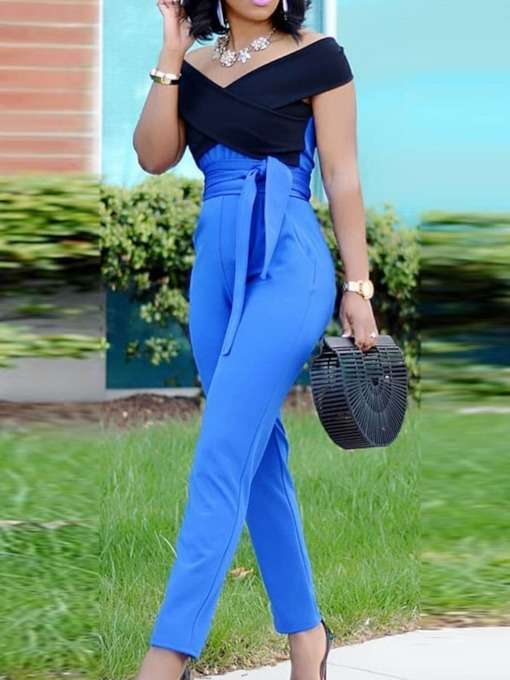 Color Block Lace-Up Full Length Fashion Pencil Pants Women's Jumpsuit