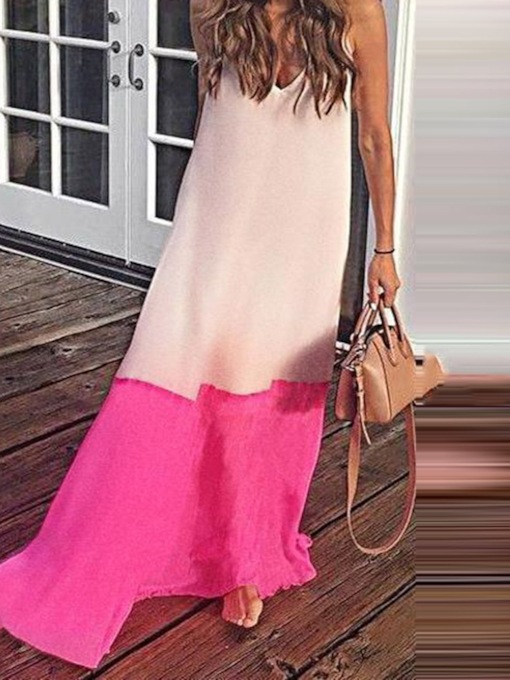 Spaghetti Strap Patchwork Color Block Women's Maxi Dress