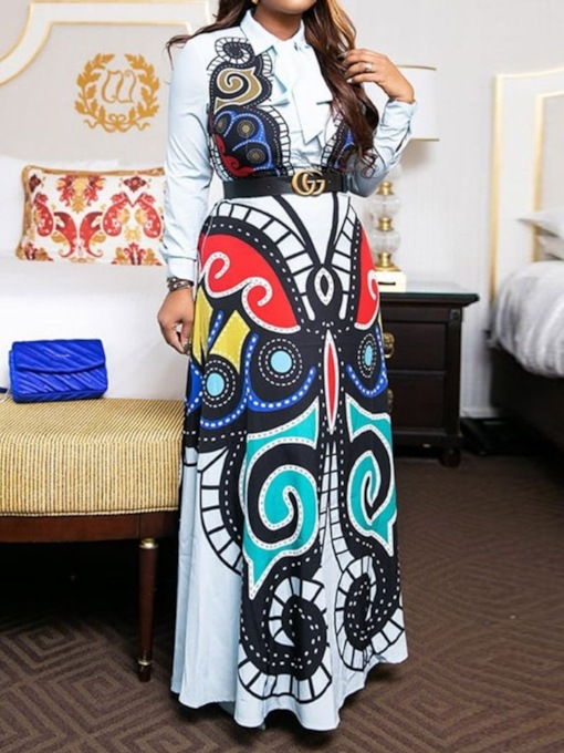 African Fashion Lapel Long Sleeve Print Color Block Women's Maxi Dress