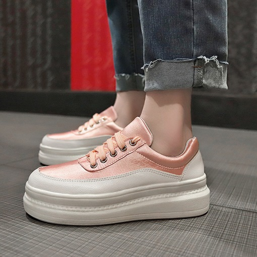 Lace-Up Round Toe Platform Women's Sneakers