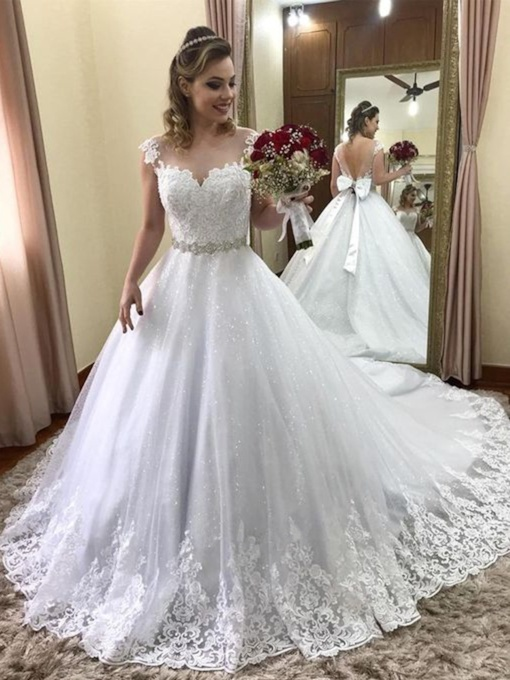 Cap Sleeves Appliques Beading Wedding Dress 2019