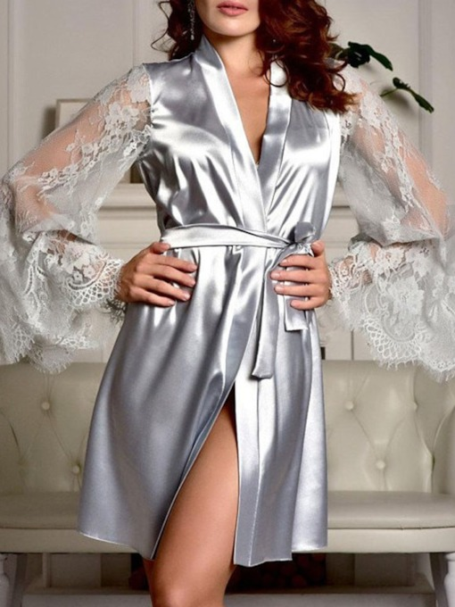 Women's Lace Sleeve Satin Sleepwear Loungewear Robe Nightwear