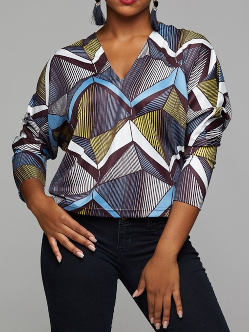 Color Block V-Neck Geometric Pattern Women's Blouse