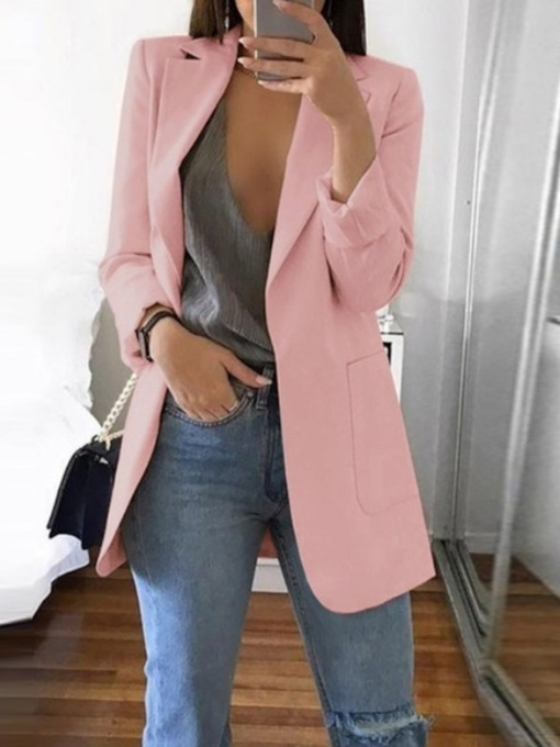 Plain Notched Lapel Dual Pockets Women's Casual Blazer