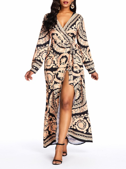 Split Long Sleeve V-Neck Spring Women's Maxi Dress