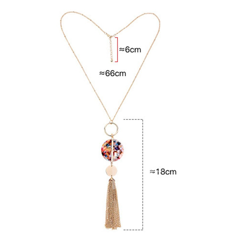 Acrylic Colored Pendant Tassel Alloy Necklace