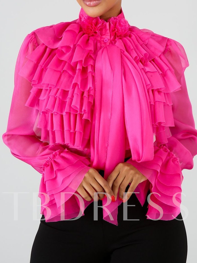 African Fashion Ruffles Front Sheer Plain Stand Collar Women's Blouse