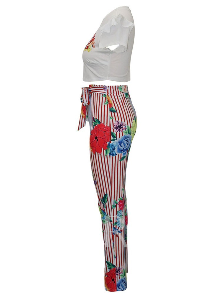 Print Casual Pants Stripe Round Neck Women's Two Piece Sets