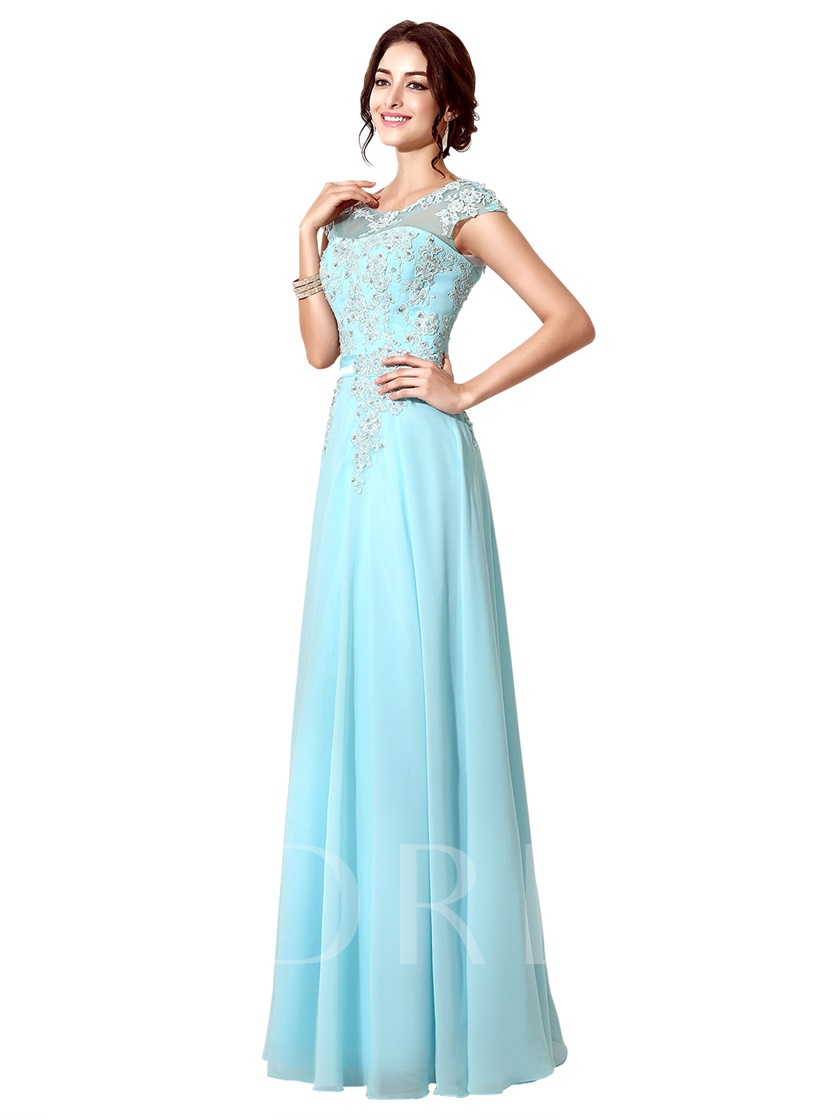 Cap Sleeves Sashes A-Line Scoop Prom Dress 2019