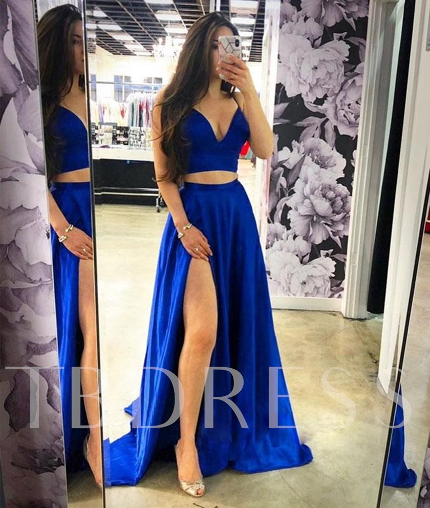Split-Front Floor-Length A-Line Sleeveless Evening Dress 2019