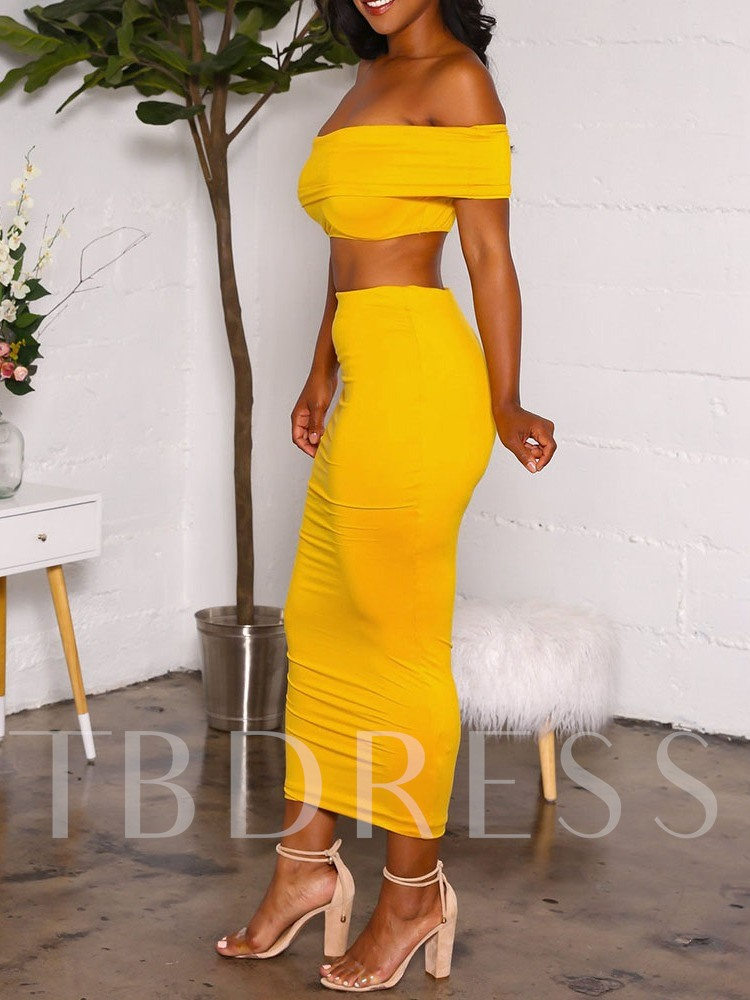 African Fashion T-Shirt Casual Plain Off Shoulder Women's Two Piece Sets