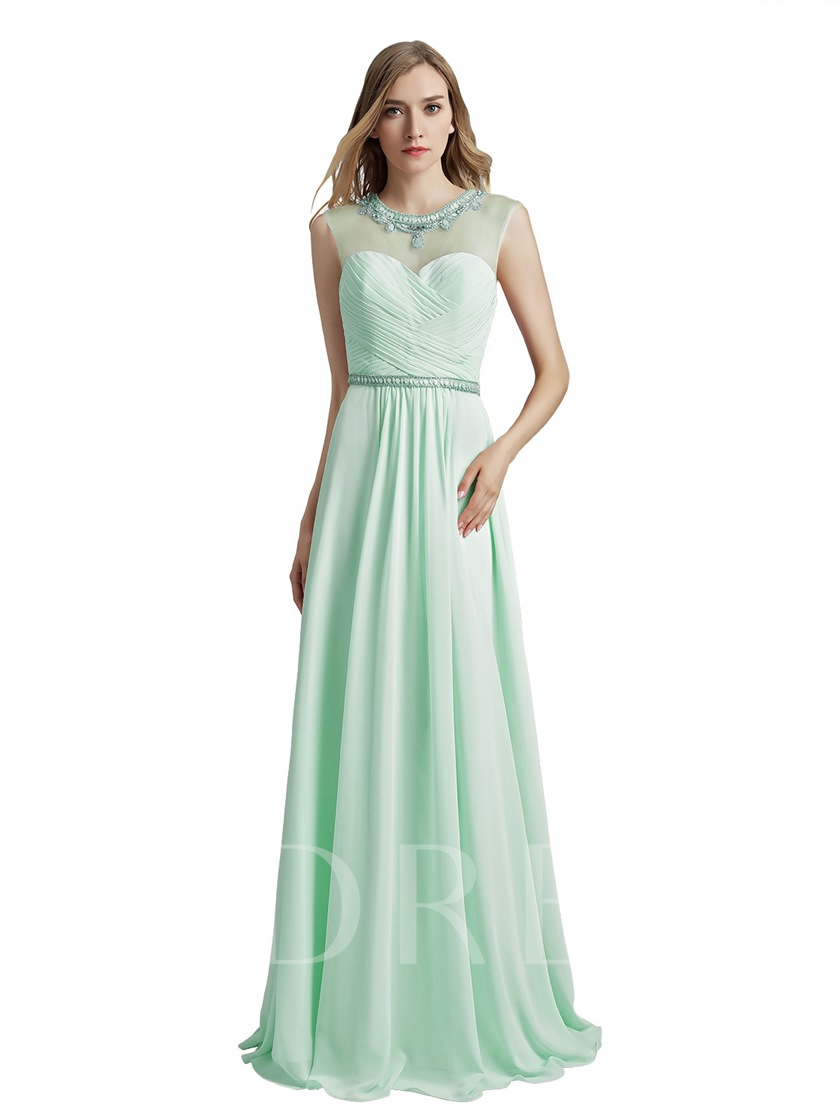 A-Line Floor-Length Ruched Sleeveless Prom Dress 2019