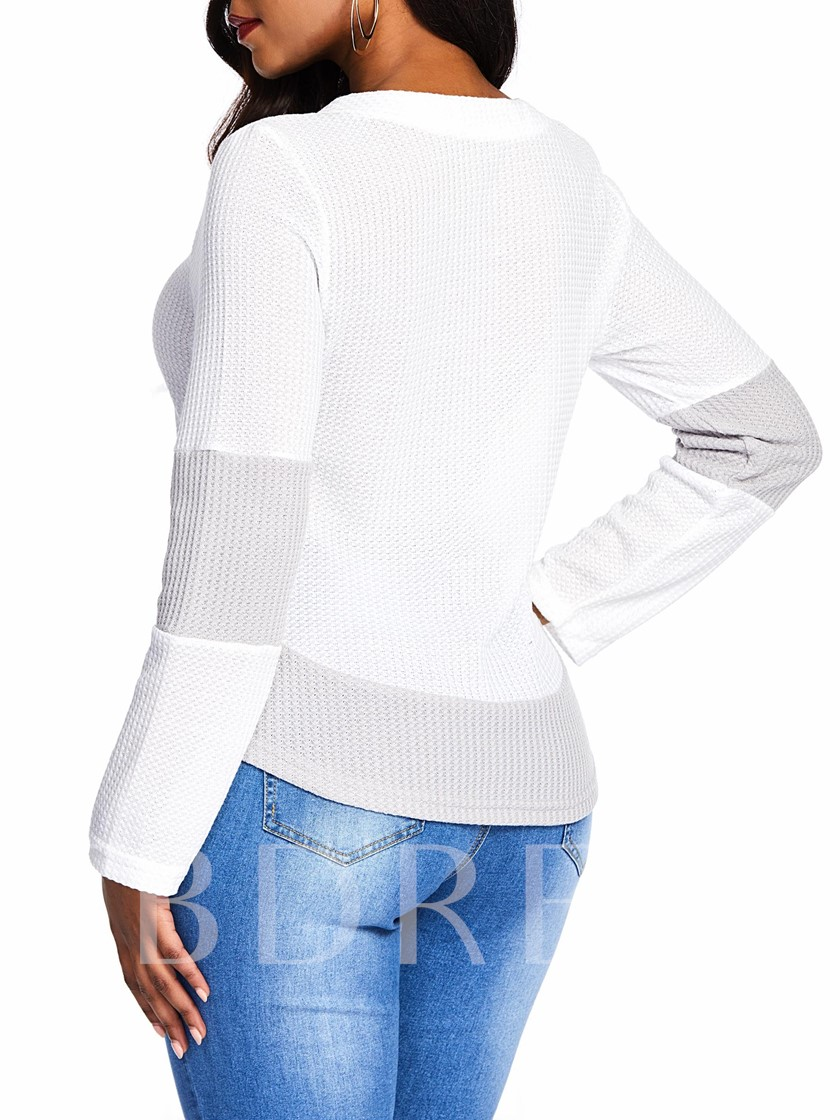 V-Neck Color Block Lace-Up Women's Sweater
