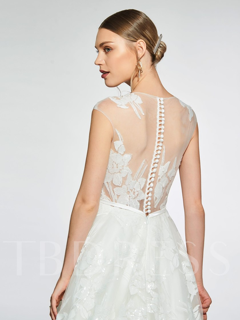 Sheer Neck Sequins Lace Button Wedding Dress 2019