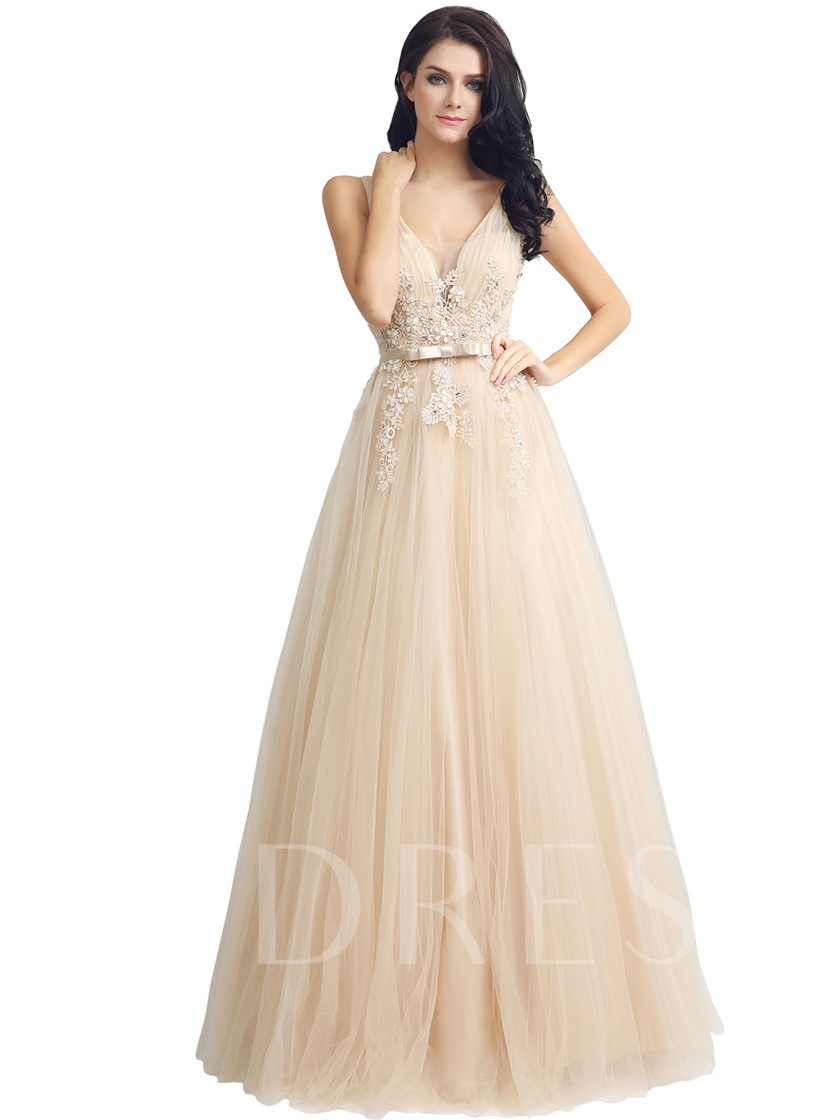 Sleeveless A-Line Floor-Length V-Neck Prom Dress 2019