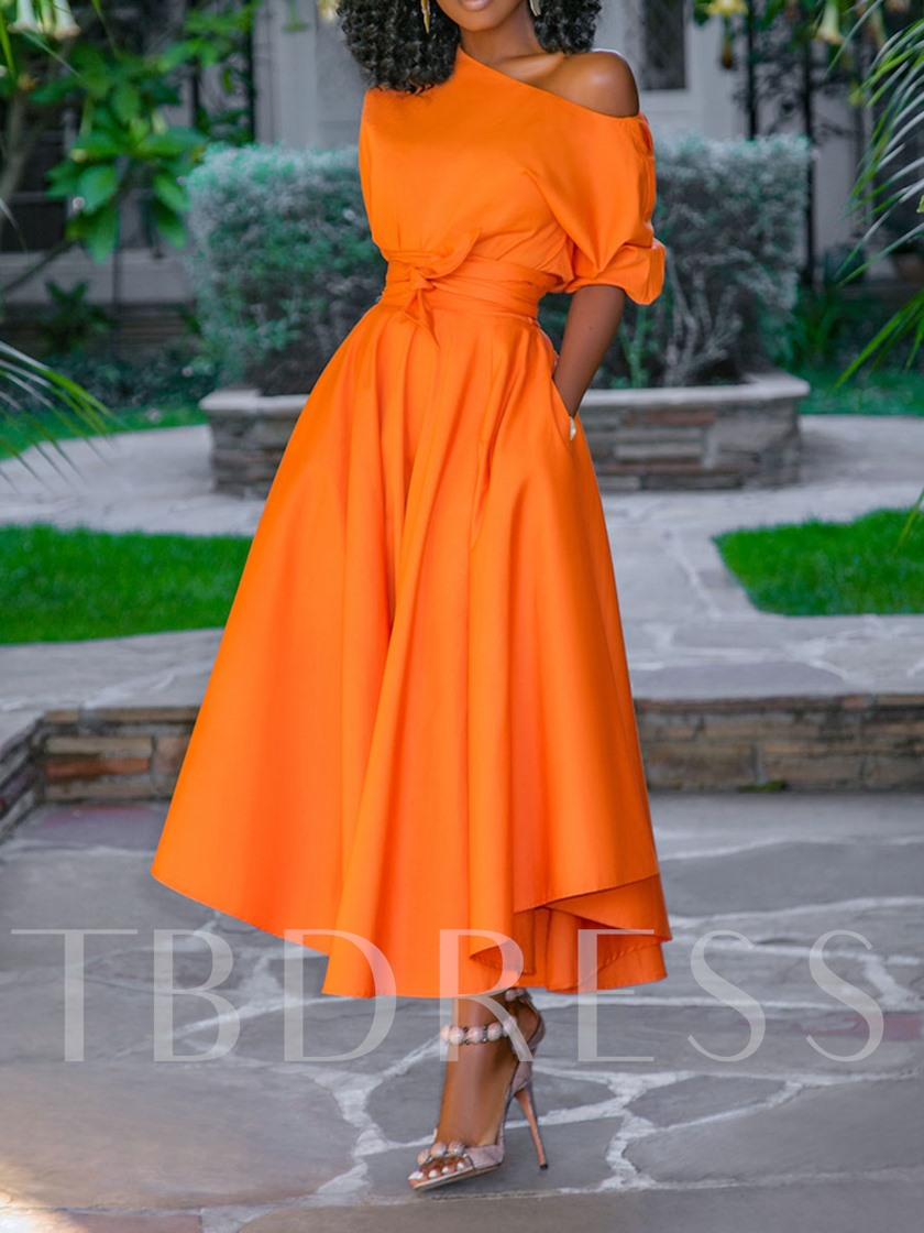 African Fashion Half Sleeve Mid-Calf Plain Women's Maxi Dress