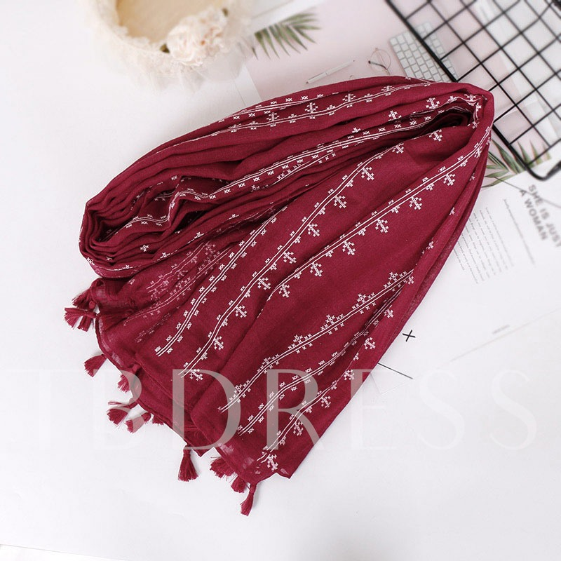 Ethnic Stripe Pattern Cotton Muslim Scarf